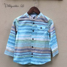 2016 New arrival Spring Autumn Fashion baby boys shirts colorful striped cotton stand collar navy style boy shirts #161014_h81