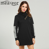 Meaneor Sweatshirt Dress Women Long Hoodie Casual Winter Spring 2017 Button Long Sleeve Patchwork Pullover Mini