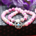 8mm Classic Pink Chalcedony Peach stone Bracelet hand chain for women girls Natural Pendant Vajra Bodhi Pendant Double circle