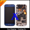 Free Shipping + Tracking No  100% tested  For Samsung Galaxy S4 Mini i9190 i9195 LCD Touch Screen Assembly  Frame - White/Blue