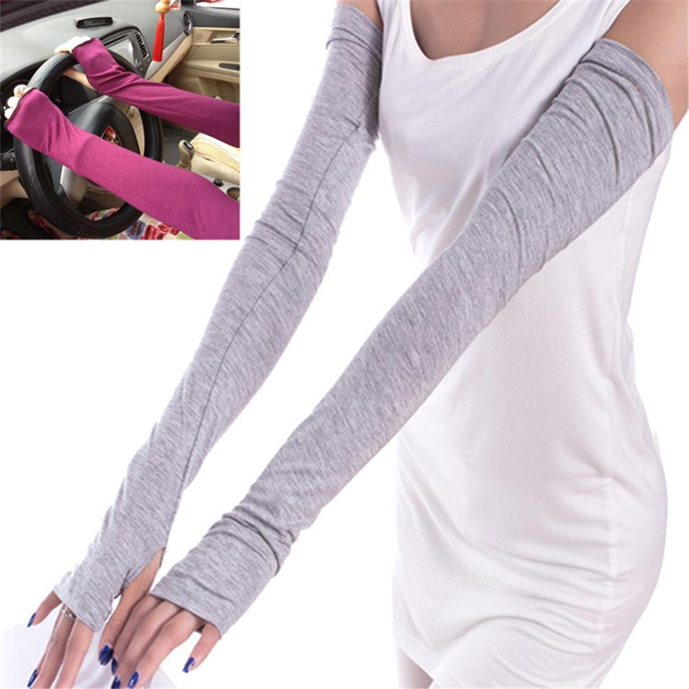 Fingerless gloves for sun protection - 2016 Fashion Spring Summer Sunproof Women Girl Warm Arm Warmer Cotton Long Fingerless Gloves Gift Ladies