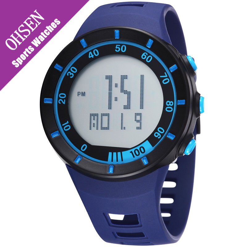 Ohsen Wristwatch Mens Digital Water Resistence Stopwatch Popular Casual Fashion Outdoor Rubber Simple LED Men Sport