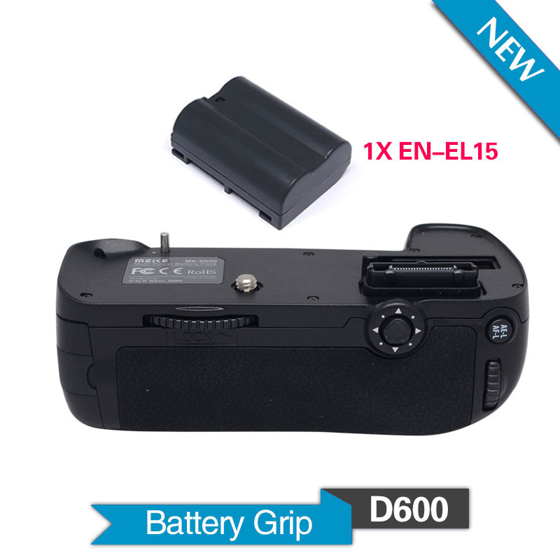 Meike MK-D600 Vertical Battery Grip with 1pcs EN-EL15 Batteries for Nikon DSLR D600 D610 Camera as MB-D14