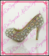 Aidocrystal Free Shipping 3cm/5cm/10cm/12cm/14cm Women Fashion White Crystal Platform High Heels Wedding Shoes Bride Dress Shoes
