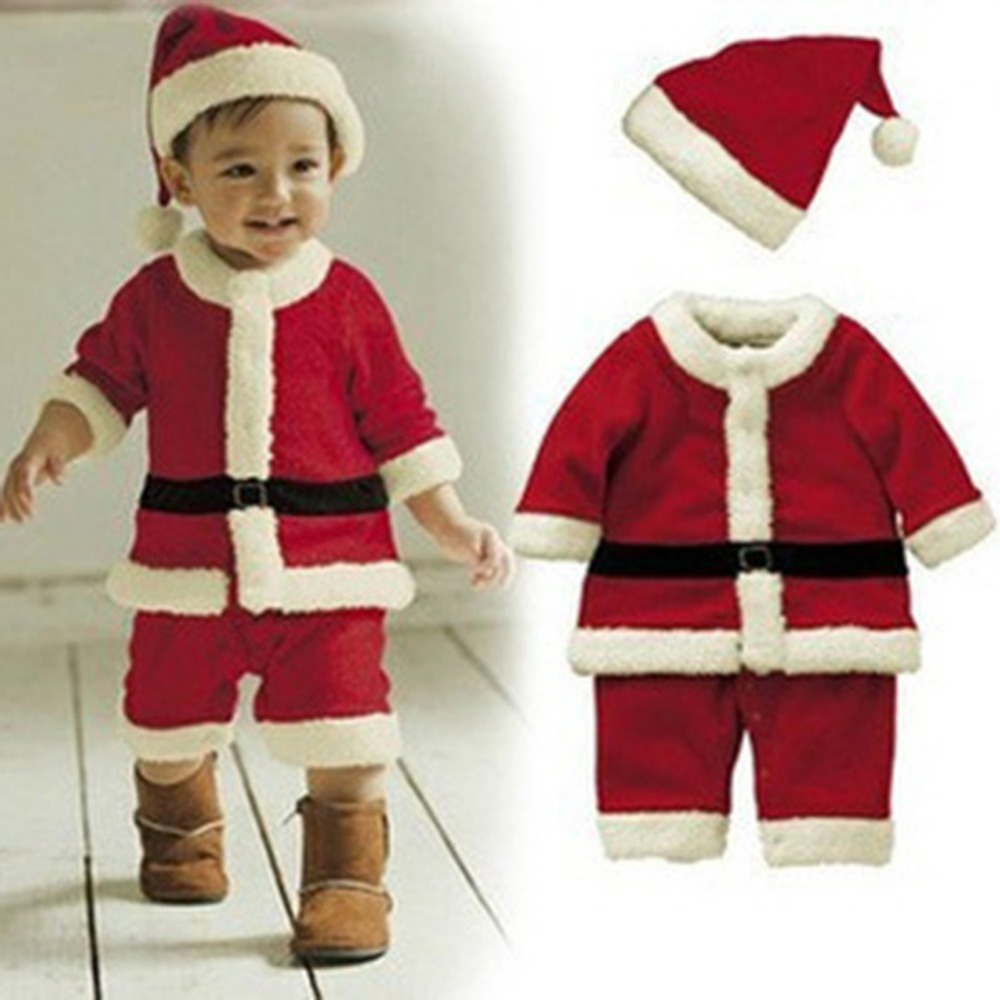 Christmas dress for baby - New Cotton Blend Cute Boys Christmas Suits Xmas Santas Clothes Jumpsuits Hat Winter Outfit