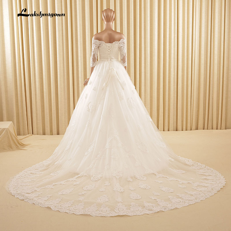 Asymmetrical lace wedding dress loose boat neck just