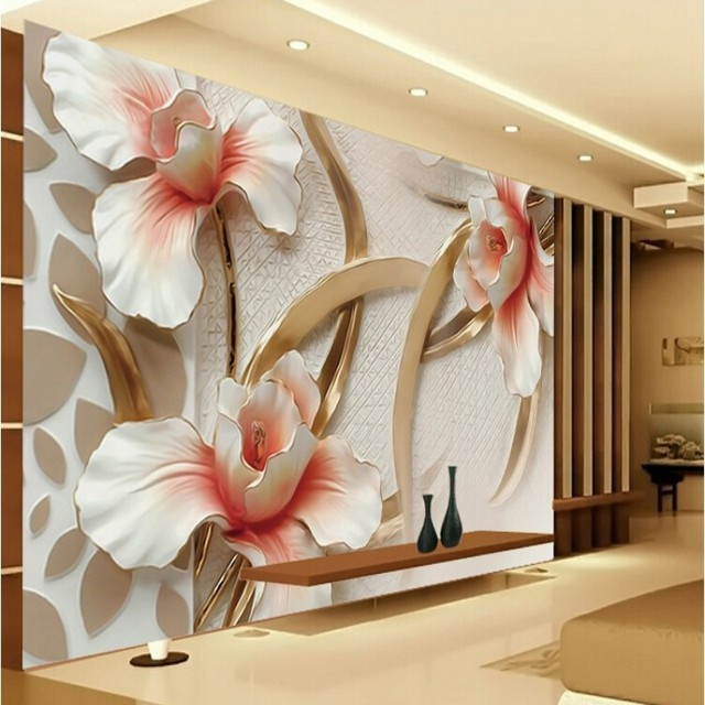 Beibehang Custom Wallpaper Three Dimensional Relief Flower Home