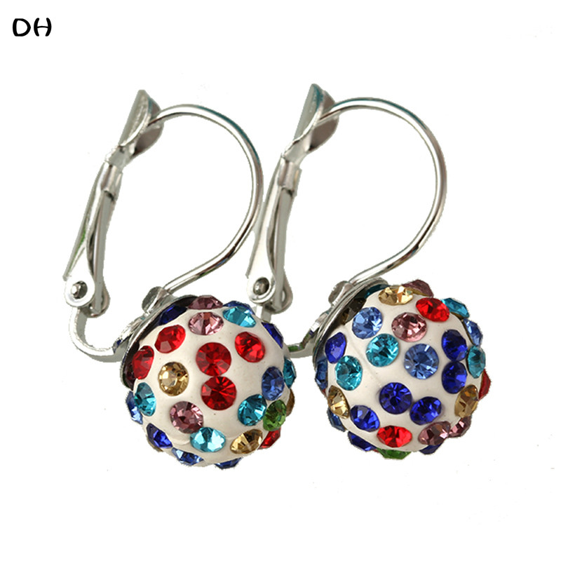 Fashion Stud Earring New Women Jewelry Multiple Colors Shining Crystal Ball Earring Ear Clip Special Gift For Women Red E1702