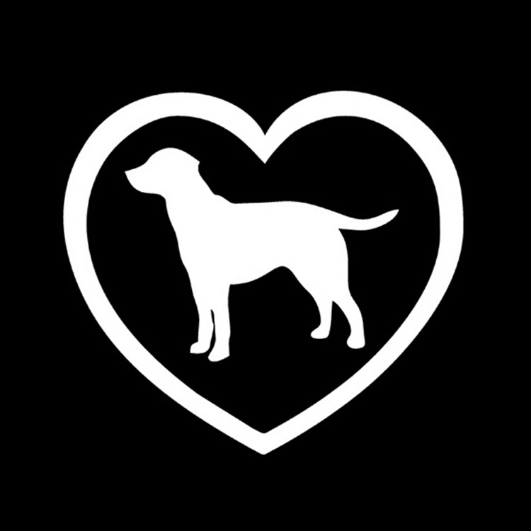 12.8*11.6CM Love Window Labrador Retriever Decal Sticker Car Styling Fashion Window Decorative Stickers Sliver/Black C4-0135