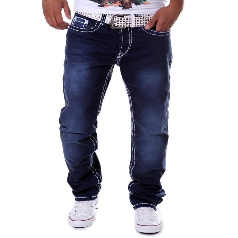 Street Hipster Men Jeans Blue Jogger Straight Long Cotton Denim Jeans Botton Fly Casual Fitness Hip Pop Brand Pantalon Homme