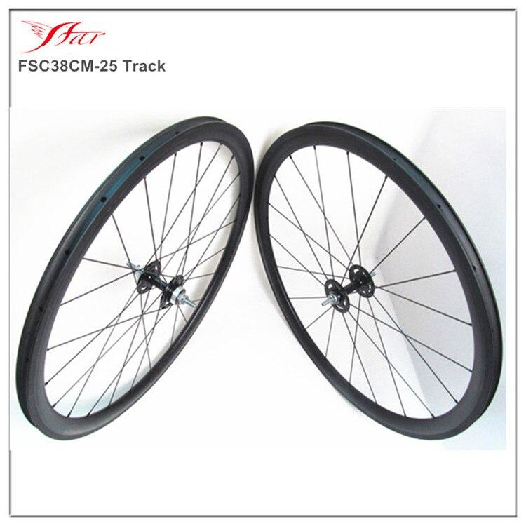 Vente chaude!! 700C Toray roues en fibre de carbone 38mm 25mm roues dentées fixes en carbone 20 H 24 H avec moyeu de voie Novatec