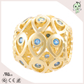 Hoolw Design Golden Color Pave With Blue Zircon Fashion Jewelry S925 Sterling Silver Charm