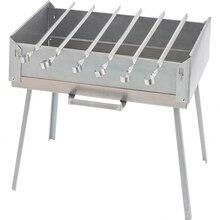 Мангал PALISAD 69538 (Размеры 41х28х12.5 см, с поддоном, жаропрочная углеродистая сталь, 6 шампуров и транспортировочная сумка в комплекте)