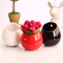 3 Color Optional, Colorful Ceramic Wall Hanging Planter  Terrarium For Home Decoration Or Housewarming Wedding Green Gift