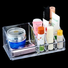 1PC Clear Acrylic Makeup Organizer Case Jewelry Storage Box cosmetic Display Lipstick Brush Cosmetic mascara Holder Rangement(China)
