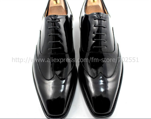 adhesive craft custom handmade genuine calf leather men\'s oxford shoe color black patent leather No.OX184