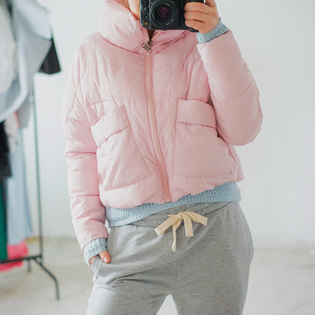 Укороченная женская кроп-куртка пуховик с Алиэкспресс