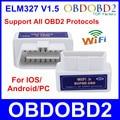Recentes ELM327 WI-FI ELM 327 OBD2 Auto Scanner Para Android & IOS Sistema de Mini ELM327 Wi-fi Suporte Todos Os Protocolos OBDII Frete Grátis