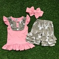 baby girls boutique clothing girls reindeer outfits bib top grey ruffle shorts with matching headband
