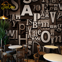 Retro Fashion 3D Stereoscopic English Alphabet Personalized Wallpaper Roll Living Room Bar Cafe Studio Backdrop Wall