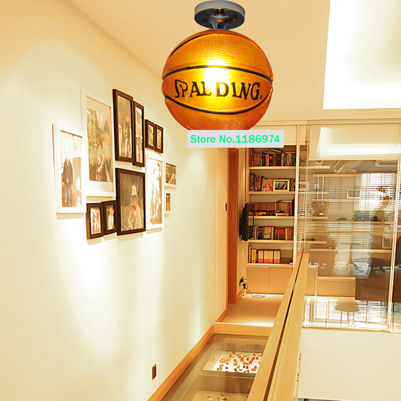 Porch Brown Basketball Lamp Gl Ceiling Lamps Modern Children Room Kid S Hanging Lights Fixtures