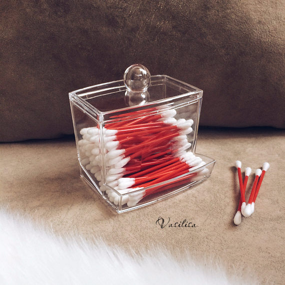2016 hotsale Clear Acrylic Cotton Swab Q-tip Storage Holder Box Cosmetic Makeup Case Hot