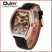 2016 oulm wristwatces con carcasa de aleación de diseño de moda correa de cuero genuina relojes movt Chino HP3310