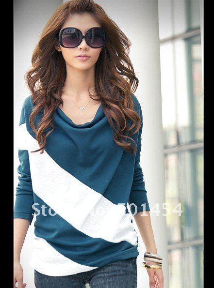 бесплатная доставка! новый мода летучая мышь с длинным рукавом женская футболка топы и блузки