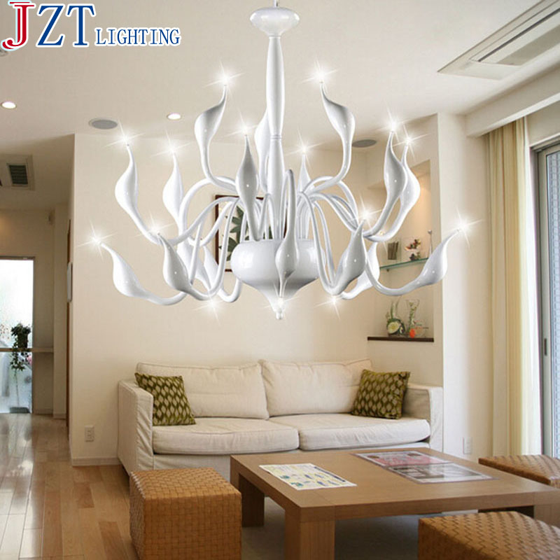 M North European Postmodern Ideas Swan Chandeliers Light Beads Lamp White Black Luminaria Hanging Lights For Living Room