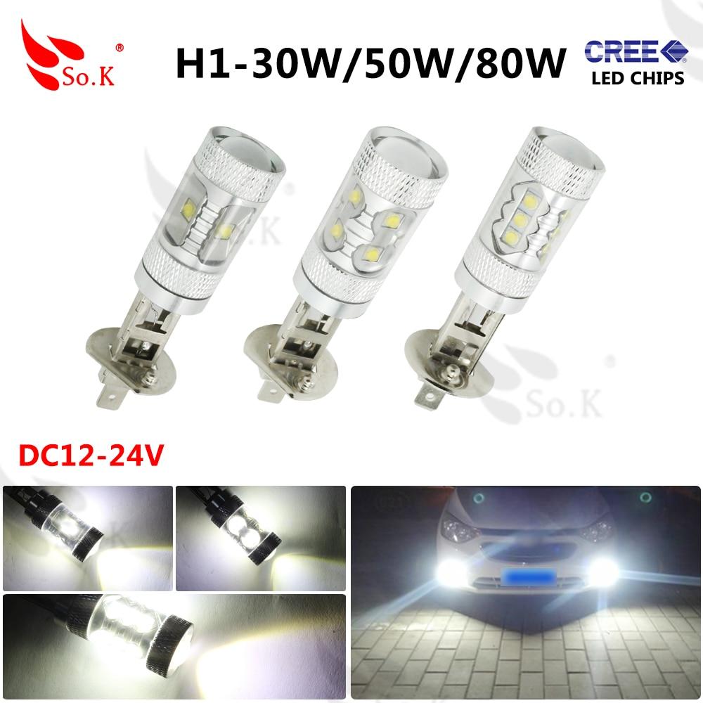 1x H1 30w 50w 80W  LED Car Fog Lamp h1 led headlight Bulb Auto lights car led bulbs Car Light Source  12V 6000K xenon White от Aliexpress INT