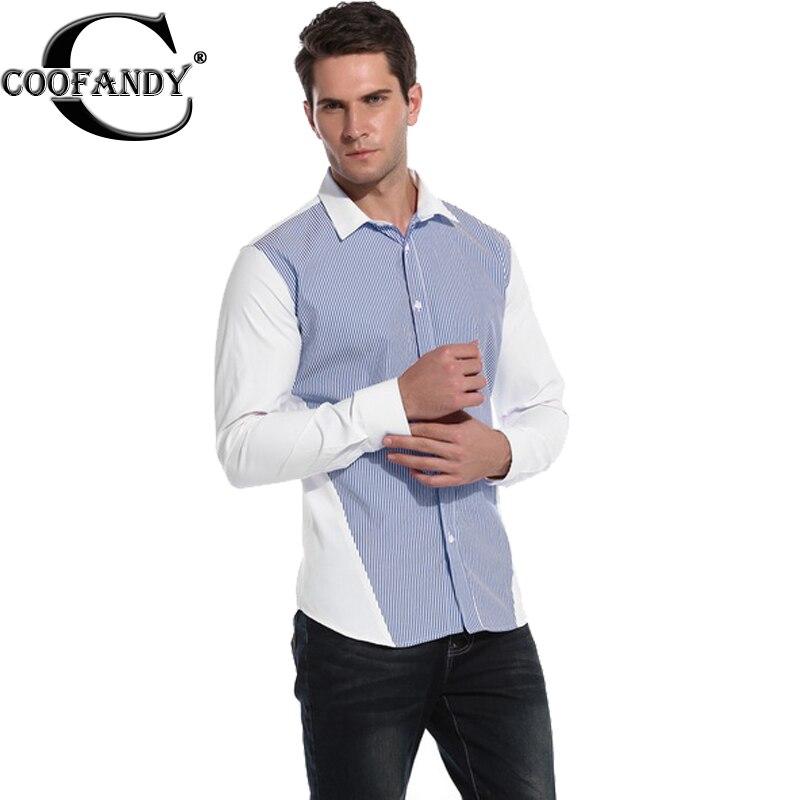 Coofandy Men Casual Shirt Long Sleeve Regular Stripe Front Button Dress Shirt US Size S M