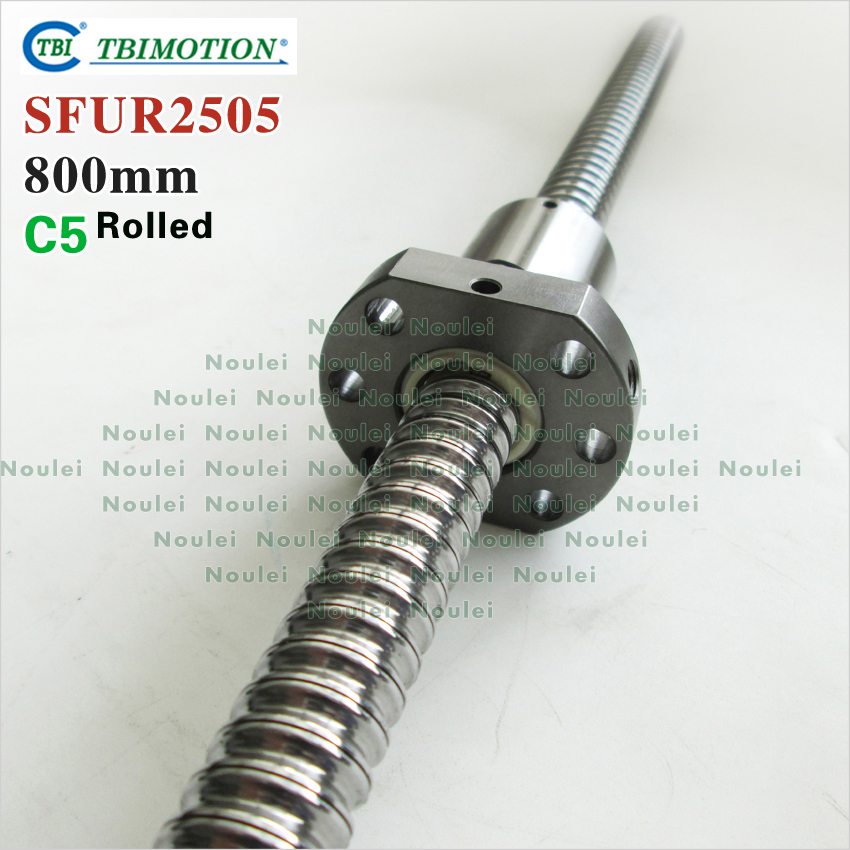 TBI Rolled ballscrew 800mm SFUR 2505 C5 Rolled 5mm lead with SFU2505 Ball nut for cnc kit tbi 2505 c3 800mm ball screw with sfu2505 5mm lead screw nut of sfu set end machine for high precision cnc kit