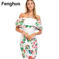 Fenghua Woman Party Dresses Summer 2017 Elegant Sexy Casual Slim Print Strapless Off Shoulder Bodycon Dress