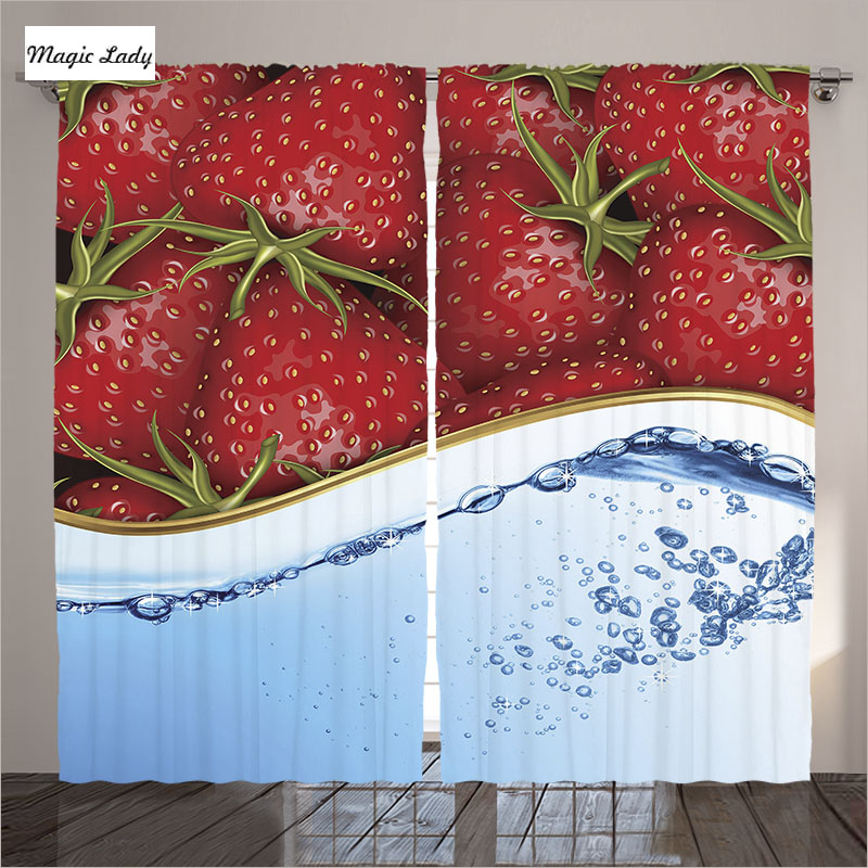 Kitchen curtains designs living room strawberries fruits - Kitchen curtains with fruit design ...