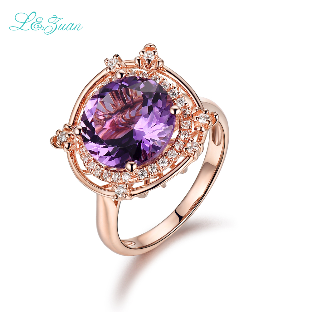 I zuan 925 Sterling Silver 100 Natural Amethyst Prong Setting Purple Stone Fashion Flower Ring Fine