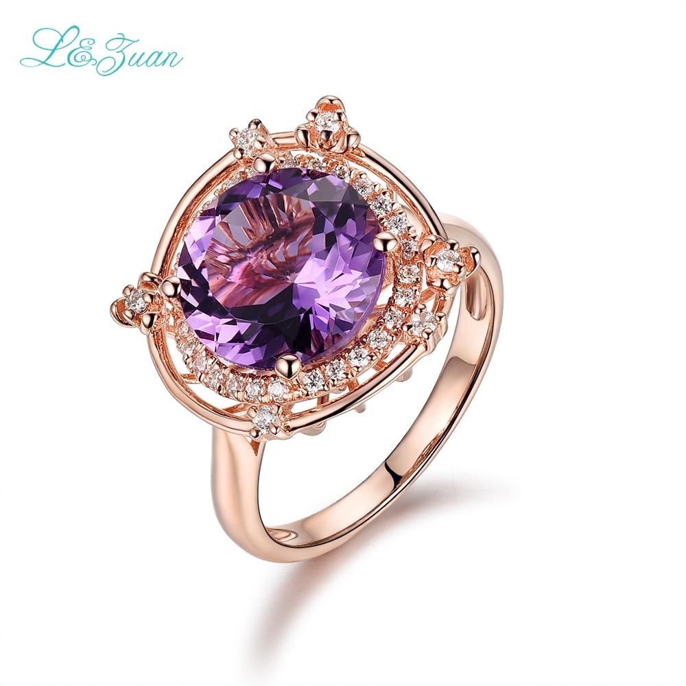 I & zuan 925 Sterling Silver 100% naturalny ametyst Prong ustawianie fioletowy kamień moda kwiat pierścień Fine Jewelry dla kobiet 6649 w Pierścionki od Biżuteria i akcesoria na  Grupa 1