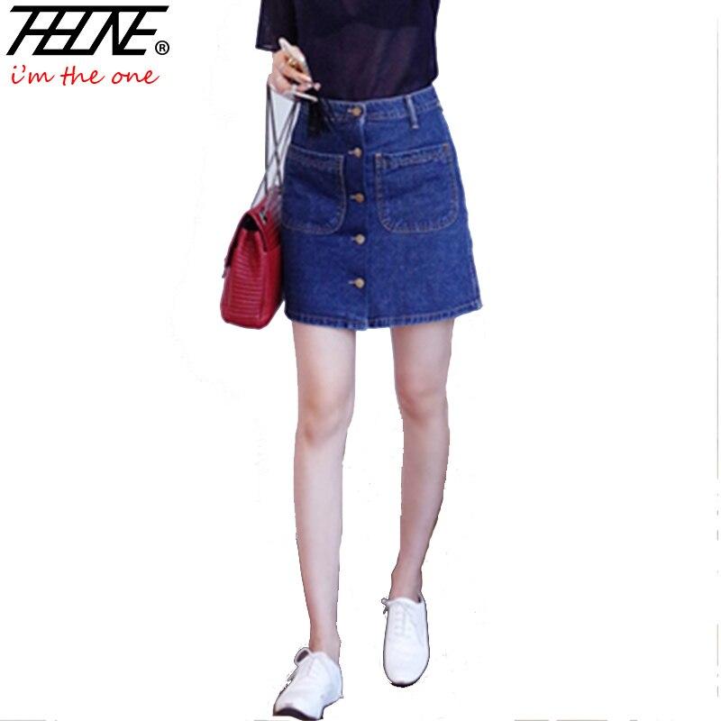 f130b15aac I'M THEONE High Waist Denim Skirts Women Mini Button-up A-line Front Pockets  Short Slim Fashion Casual Jeans Skater Skirt Summer