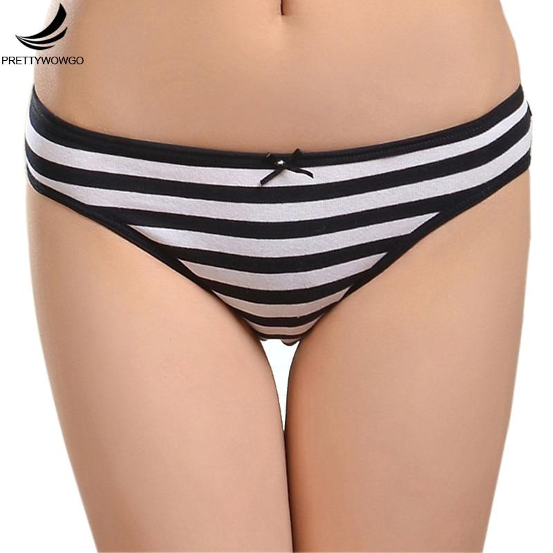 prettywowgo 6861 Cotton Women Striped Panties