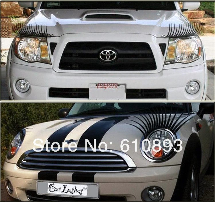 Fashion 3d Car Eyelashes 3d Car Logo Stickers Lashes Decorations