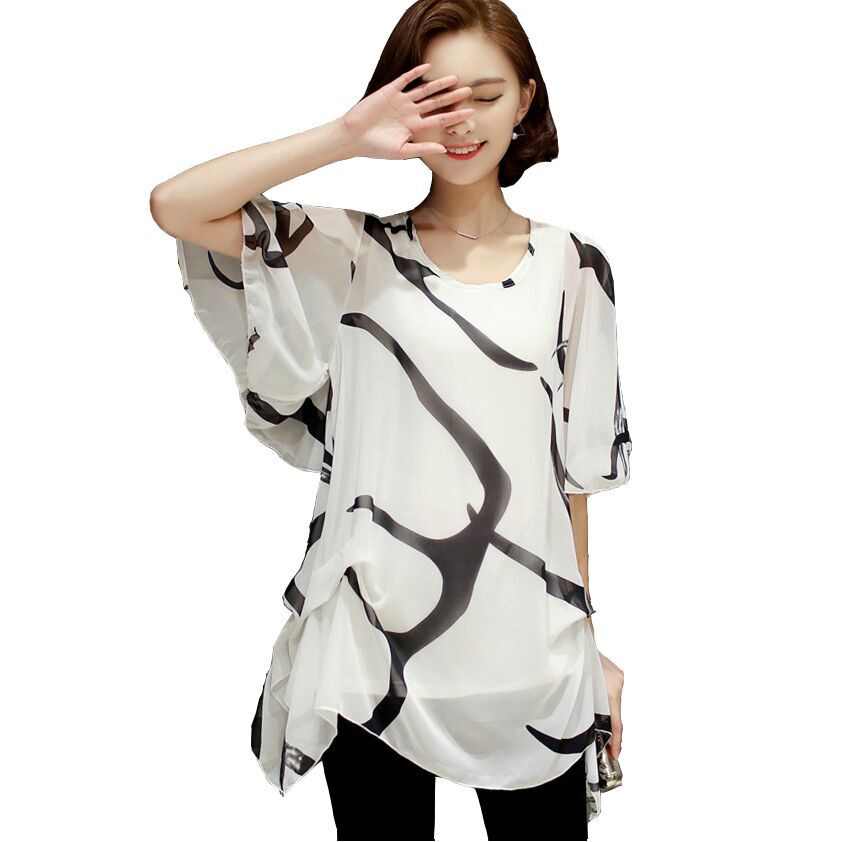 f93879c133a 2018 New Fashion Short Sleeve Loose Chiffon Blouse Print Striped 5XL Large  Size Women Clothing Ladies