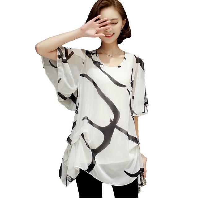 a054606eb0aa € 7.91 42% de DESCUENTO|2018 nueva moda de manga corta suelta Blusa de gasa  imprimir rayas 5XL gran tamaño ropa de las señoras Casual Tops ...