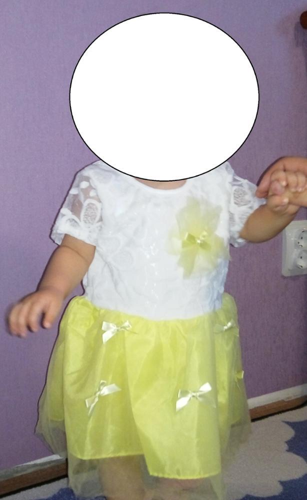 Платье класс!!!На ребенка 74 см, 13-18 мес великовато, но нам год как раз через месяц, еще подрастет!!!!Доставка молниеносная- 2,5  недели. Заказывайте, качественное платье.