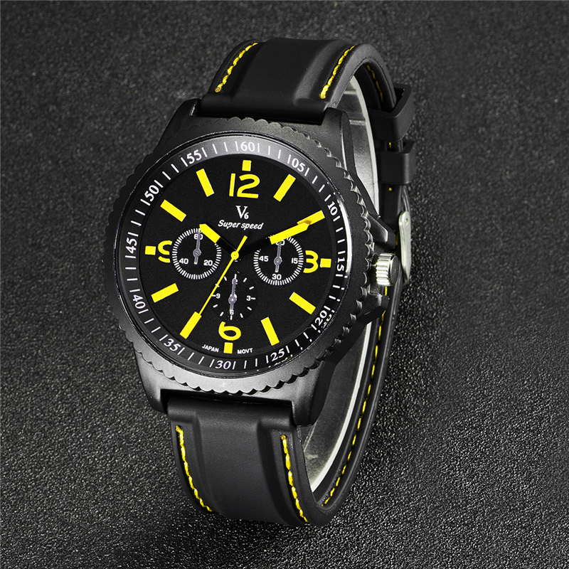 V6 Hot Fashion Mens Watches Military Army Top Brand Luxury Sports Casual Waterproof Mens Watch Quartz Silicone Man Wristwatch 2016 hot sell sinobi brand leather strap watch for mens man fashion style quartz military waterproof wristwatch wholesale