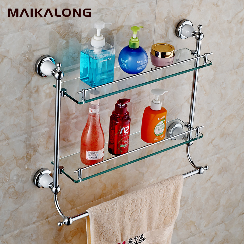 Bathroom Accessories chrome Finish With Tempered Glass,Double Glass ...