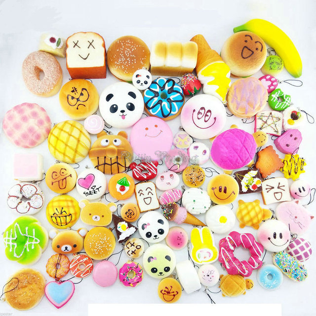 10pcs/Lot Mobile Phone Straps Squishy Cute Soft Panda/Bread/Donut Phone Keychain for Phone Decor Kawaii Cute Strap Kid Present
