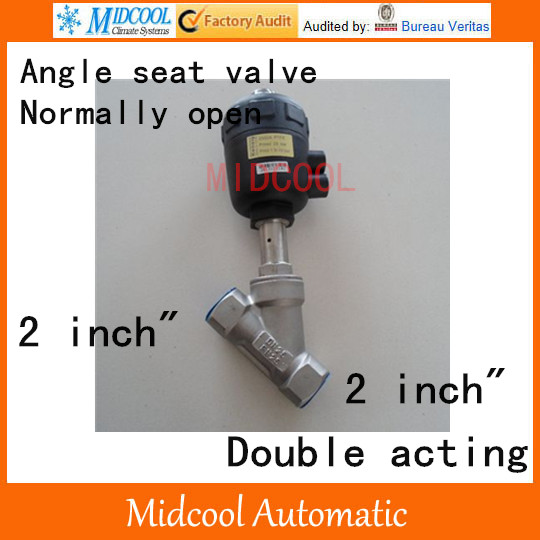 Pneumatic Stainless steel Angle seat valve  2 inch BSP DN50 double acting normally open high temperature free shipping seat actuator double cheap steam water stainless steel valve angle dn25 1 inch normally open for air