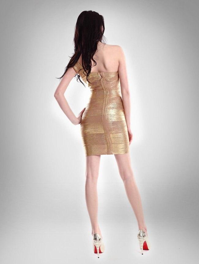 Новые женские бандажные платья знаменитостей на одно плечо с золотой фольгой Летнее мини сексуальное и Клубное вечернее платье Прямая HL478