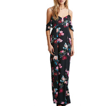 2017 casual Sleeveless Chiffon Women Maxi Retro Floral Print Evening Long Party Dresses Off Shoulder Summer