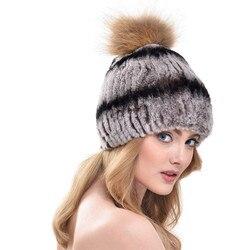 2016 New Fashion Natural Fur Caps Women Real Rex Rabbit Fur Hat With Fur Raccoon Fur Pom Poms Knit Caps LH344