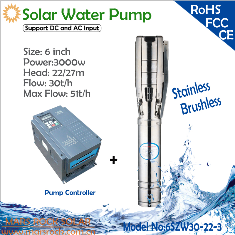 6Inch 3000W solar deep well pump with controller of permanent magnet synchronous motor flow 30 T/H head 22m for irrigation